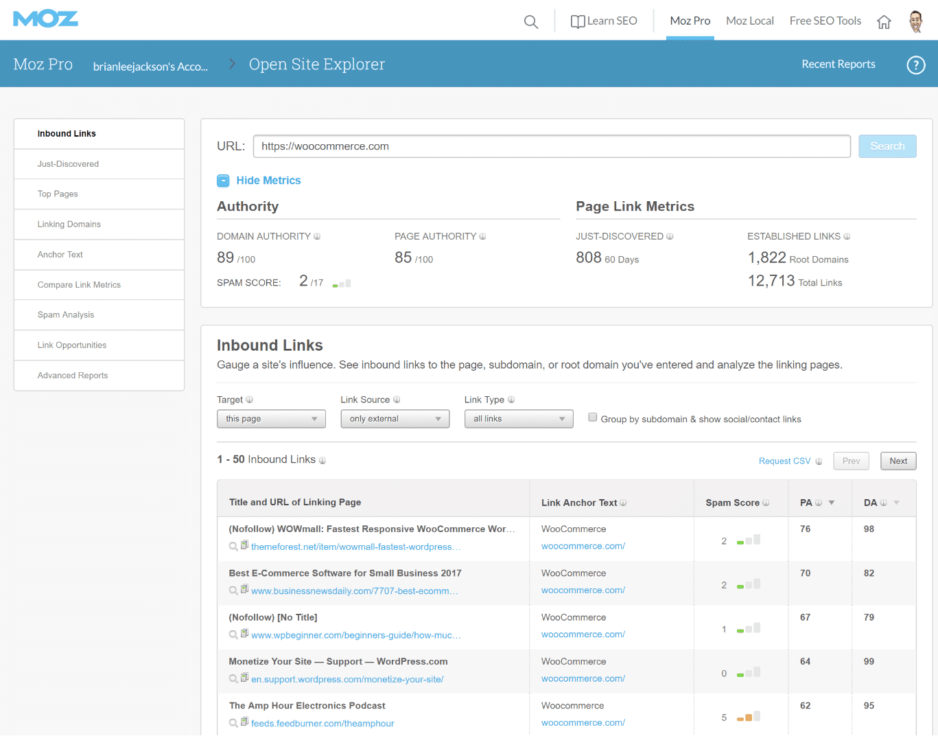 Moz Open Site Explorer Tool