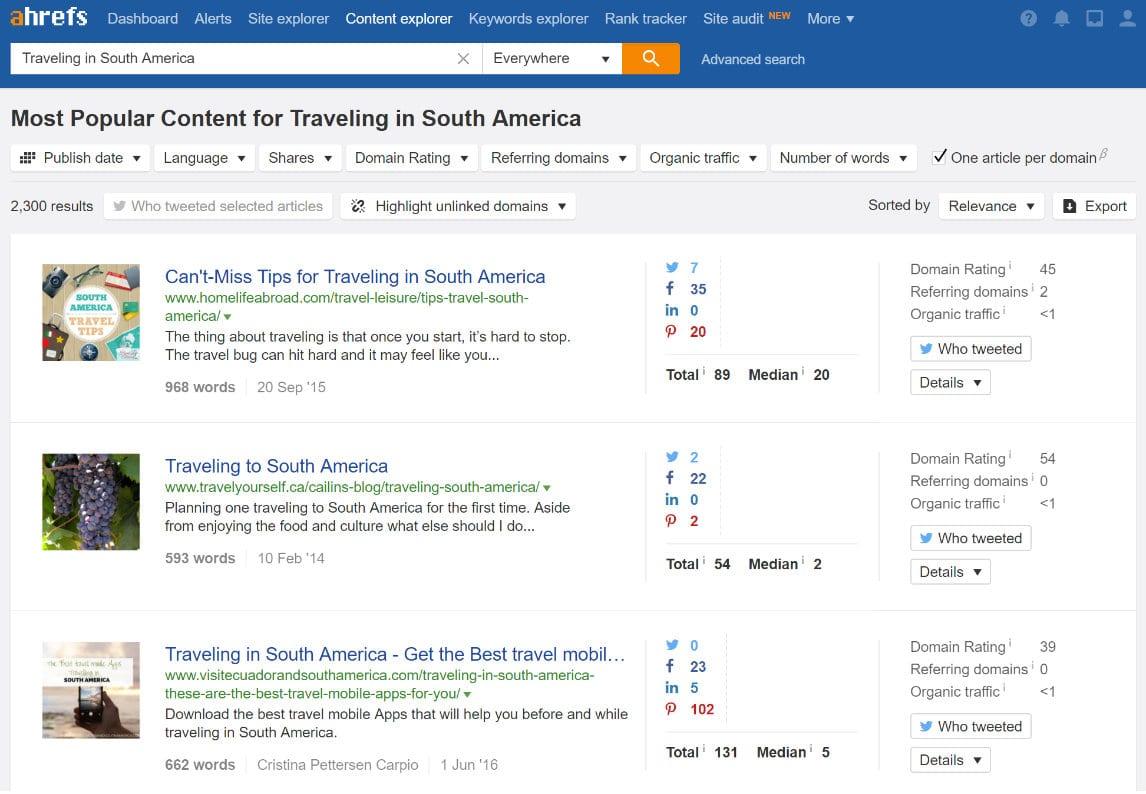 Reisen in Südamerika