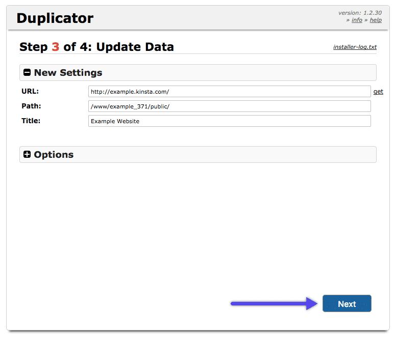 WordPress Duplicator Plugin: Aktualisiere Daten