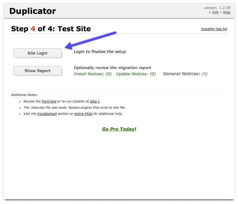 WordPress Duplicator Plugin: Test Seite