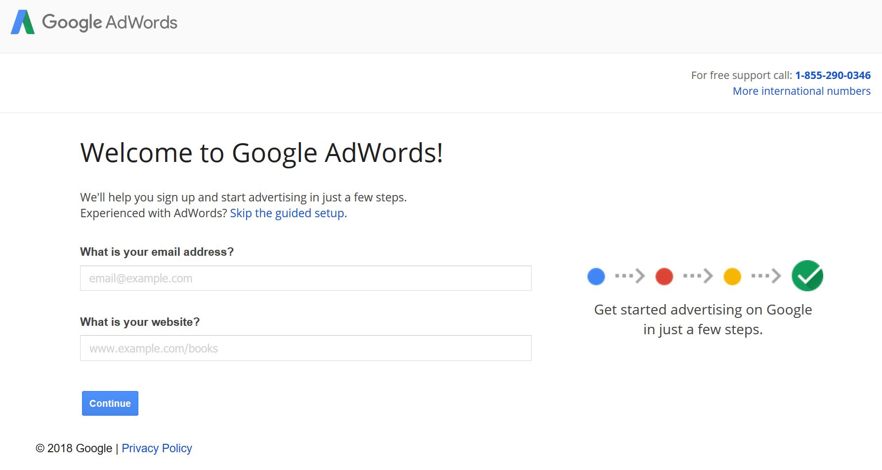 Für Google AdWords anmelden