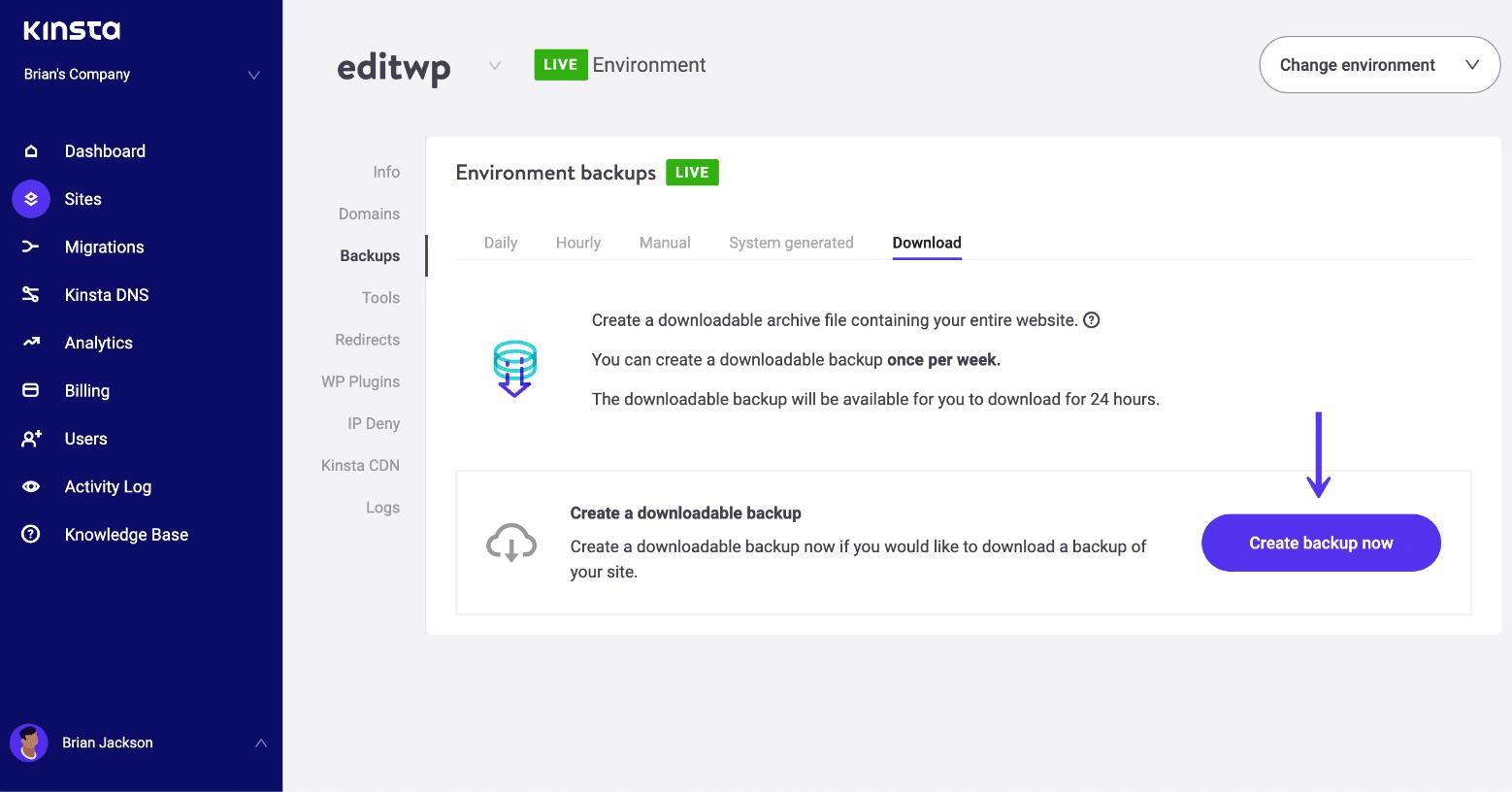 Erstelle ein manuelles WordPress Backup