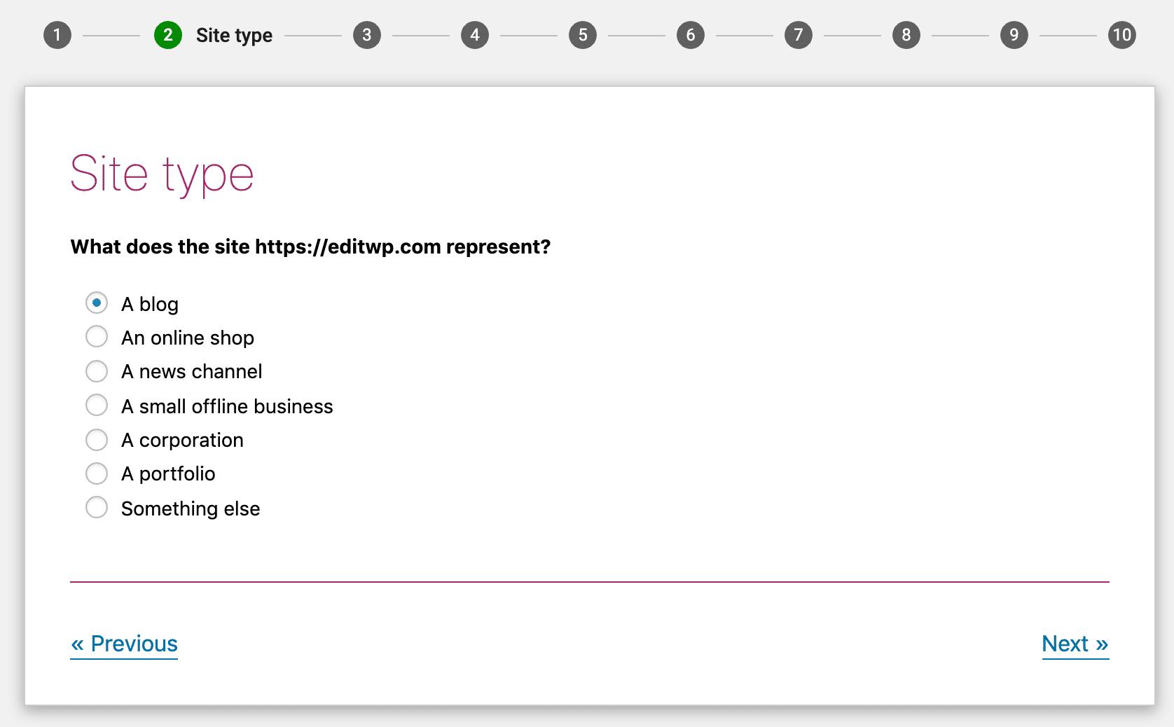 Wähle die Option, die am ehesten zu deiner Website passt