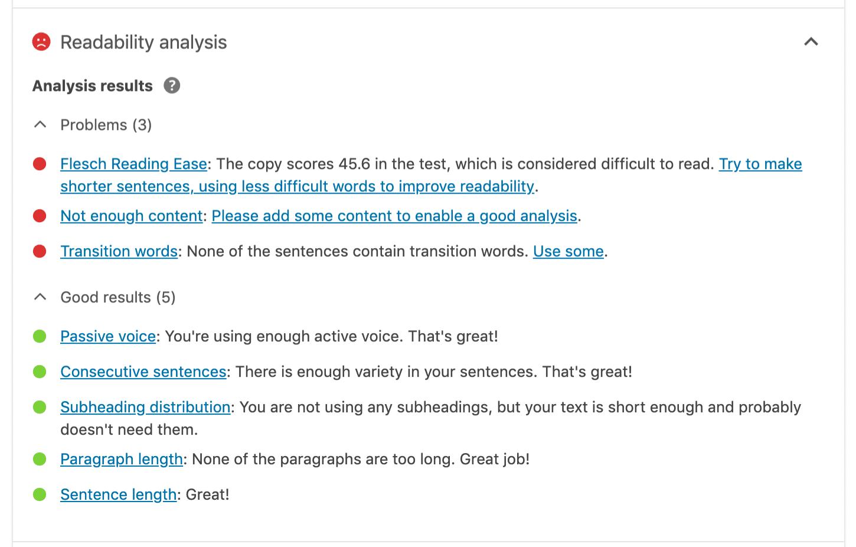 Yoast SEO Readibility Analyse