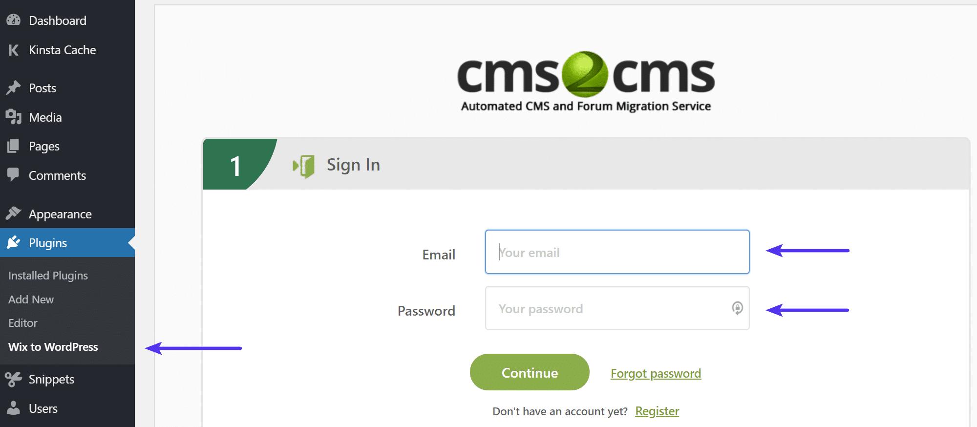 CMS2CMS-Anmeldung