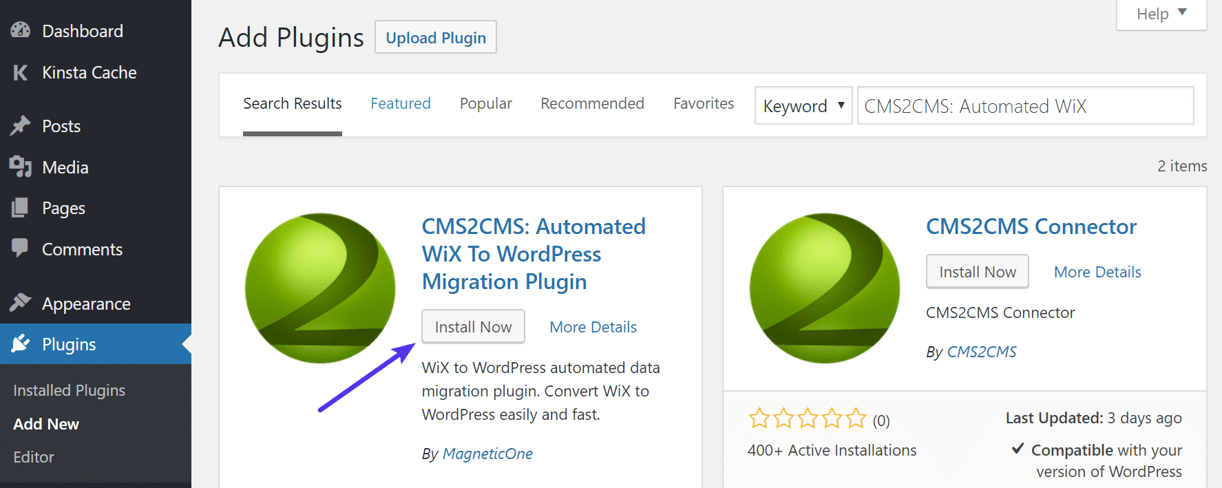 Installiere CMS2CMS Automated Wix to WordPress
