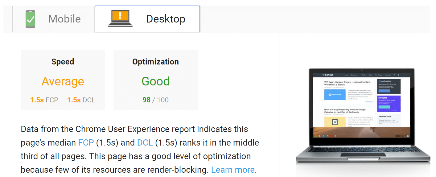PageSpeed Insights nach WP Rocket