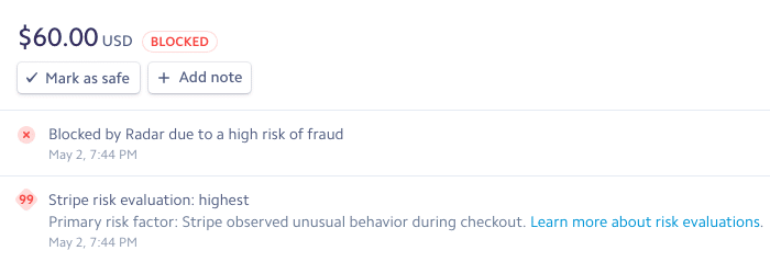 Stripe Zahlung blockiert