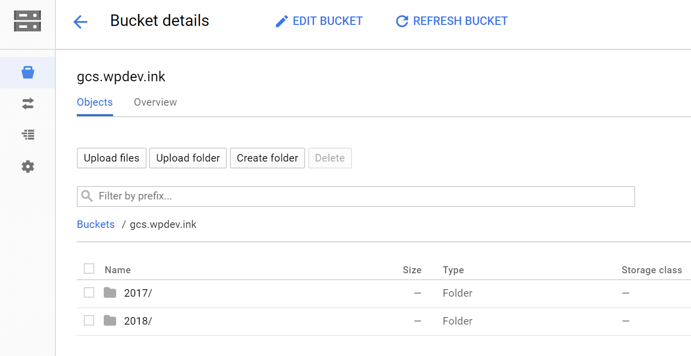 Google Cloud Storage WordPress Bucket Ordner
