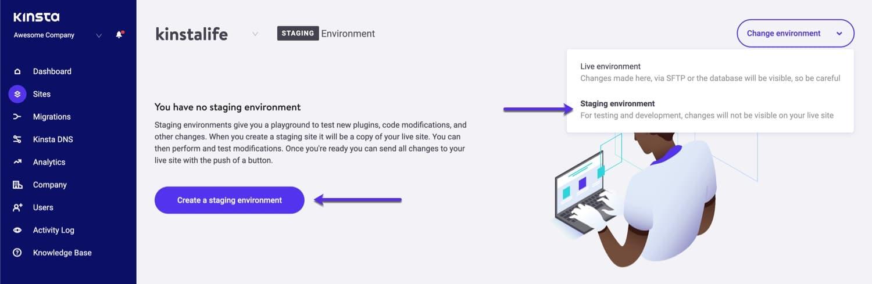 Erstelle eine WordPress-Staging-Umgebung in MyKinsta.