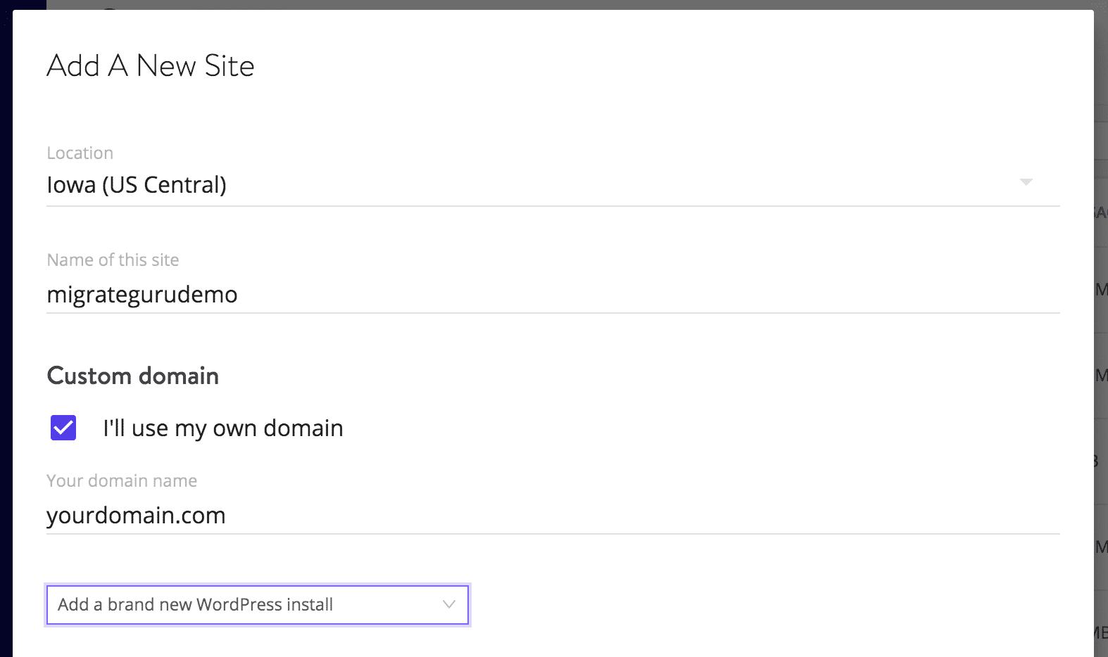 Stelle sicher, dass du WordPress installierst, wenn du eine Website hinzufügst, die du mit Migrate Guru verwenden möchtest