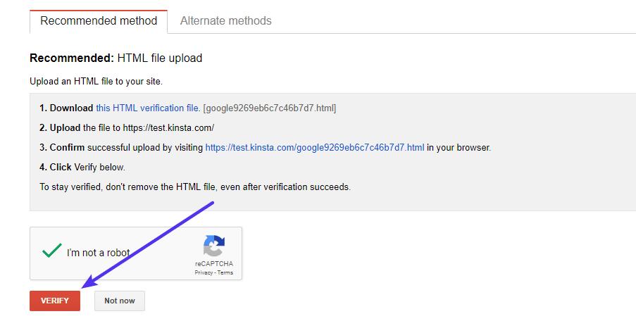 Beende den Verifizierungsprozess in der Google Search Console.