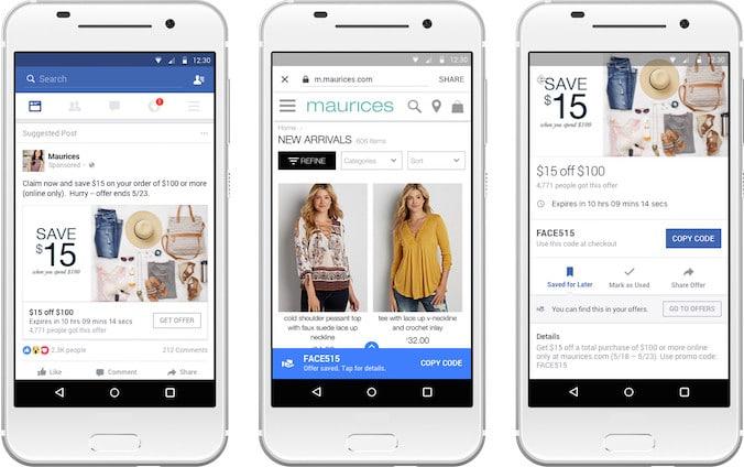 Facebook-Angebotsanzeige