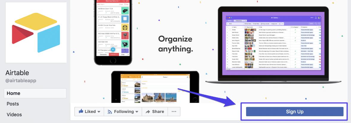 Facebook Call to Action Button