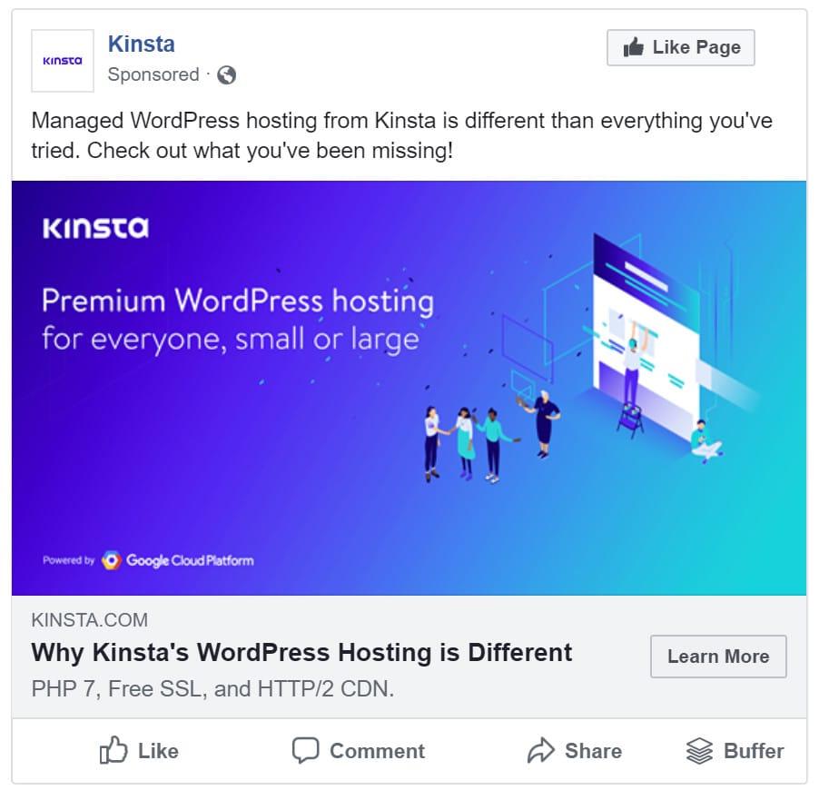 Facebook Domain Anzeige