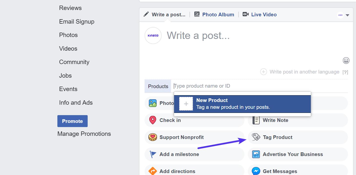 Facebook Produkt taggen