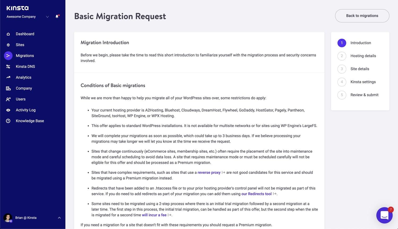 Einführung in die Kinsta Basic Migrationen.