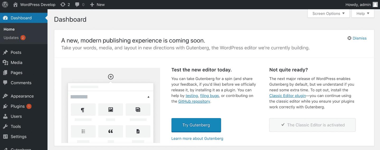 WordPress 5.0 Gutenberg-Aufruf