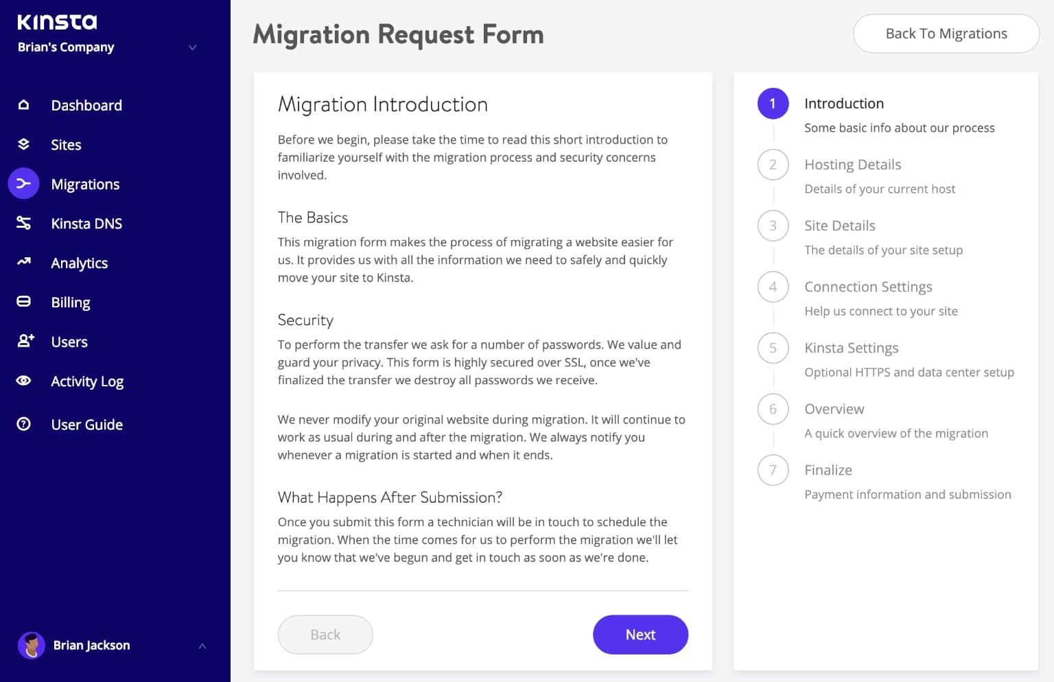 WordPress Migration Anfrageformular