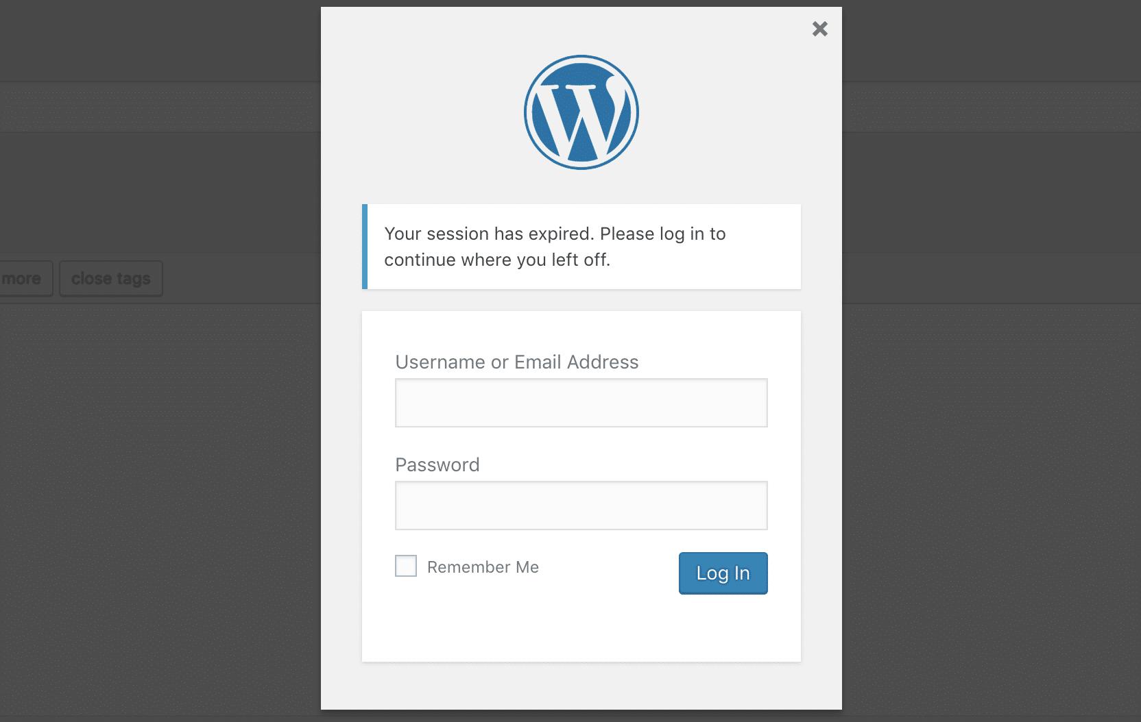 Abgelaufene Sitzung in WordPress