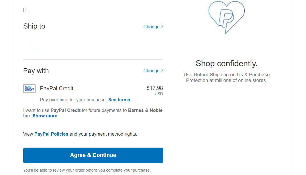 "PayPal ""continue"""