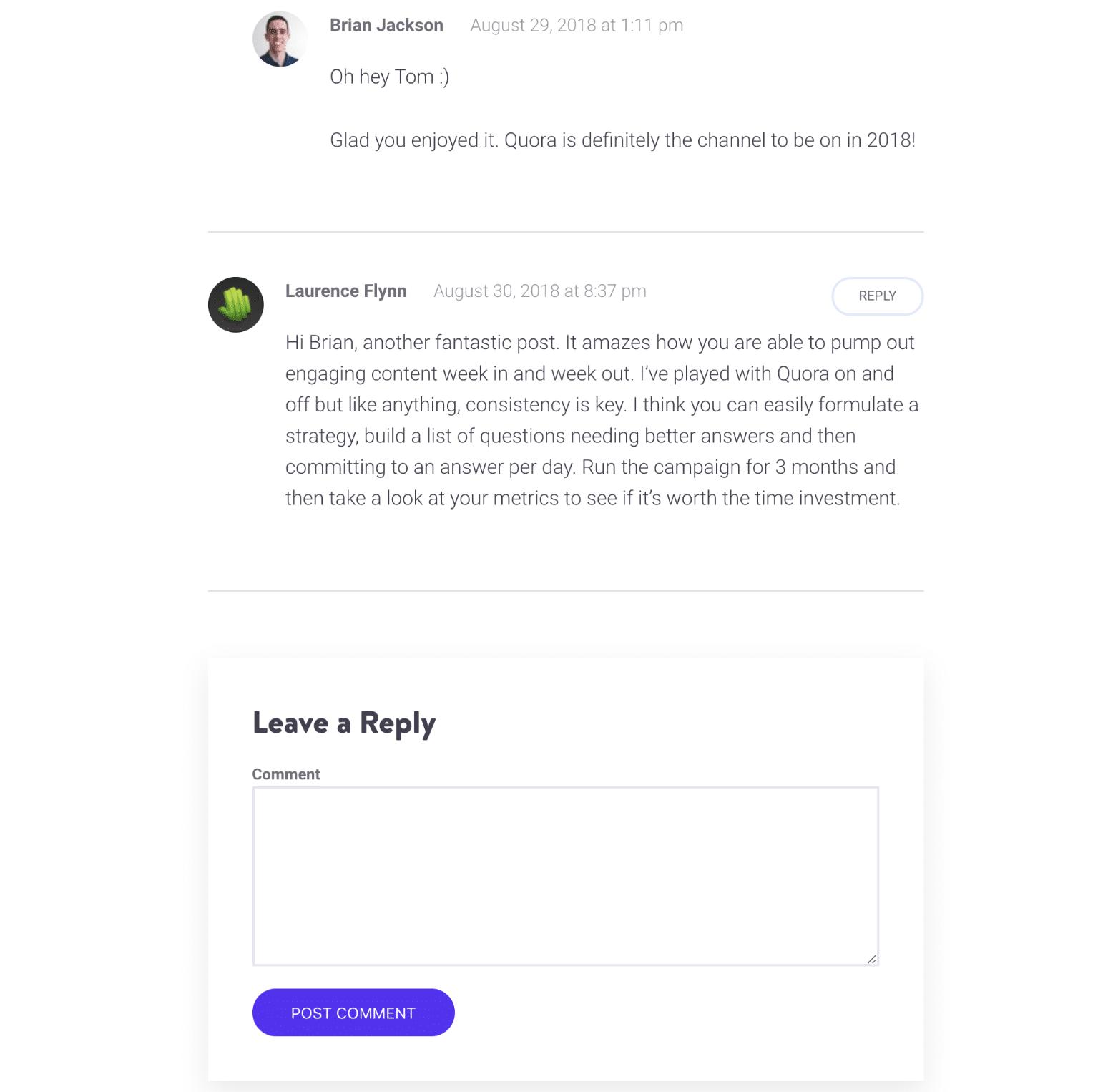 WordPress Native Comments