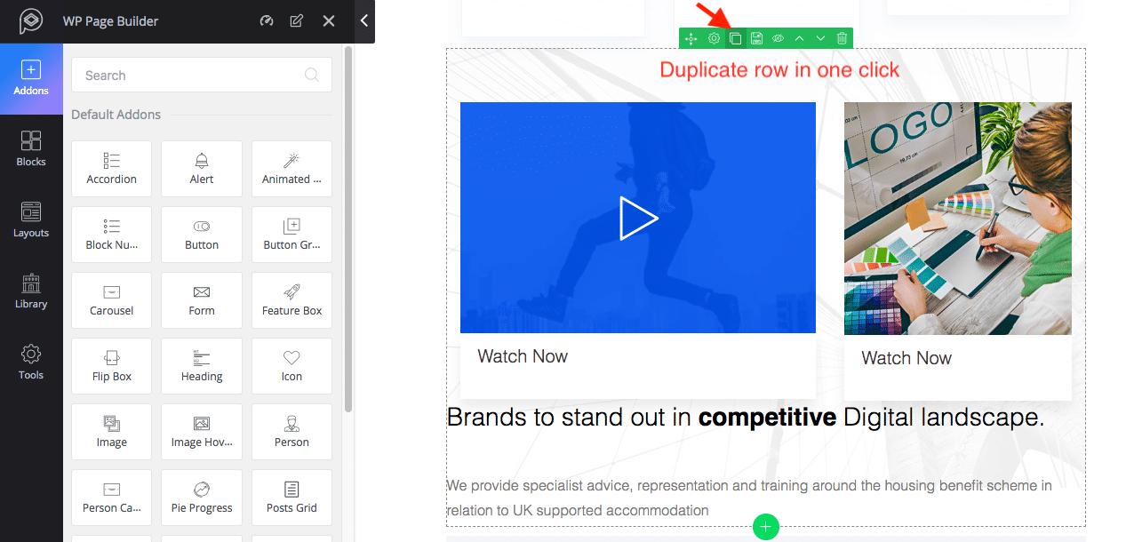 WP Page Builder Inhalte duplizieren