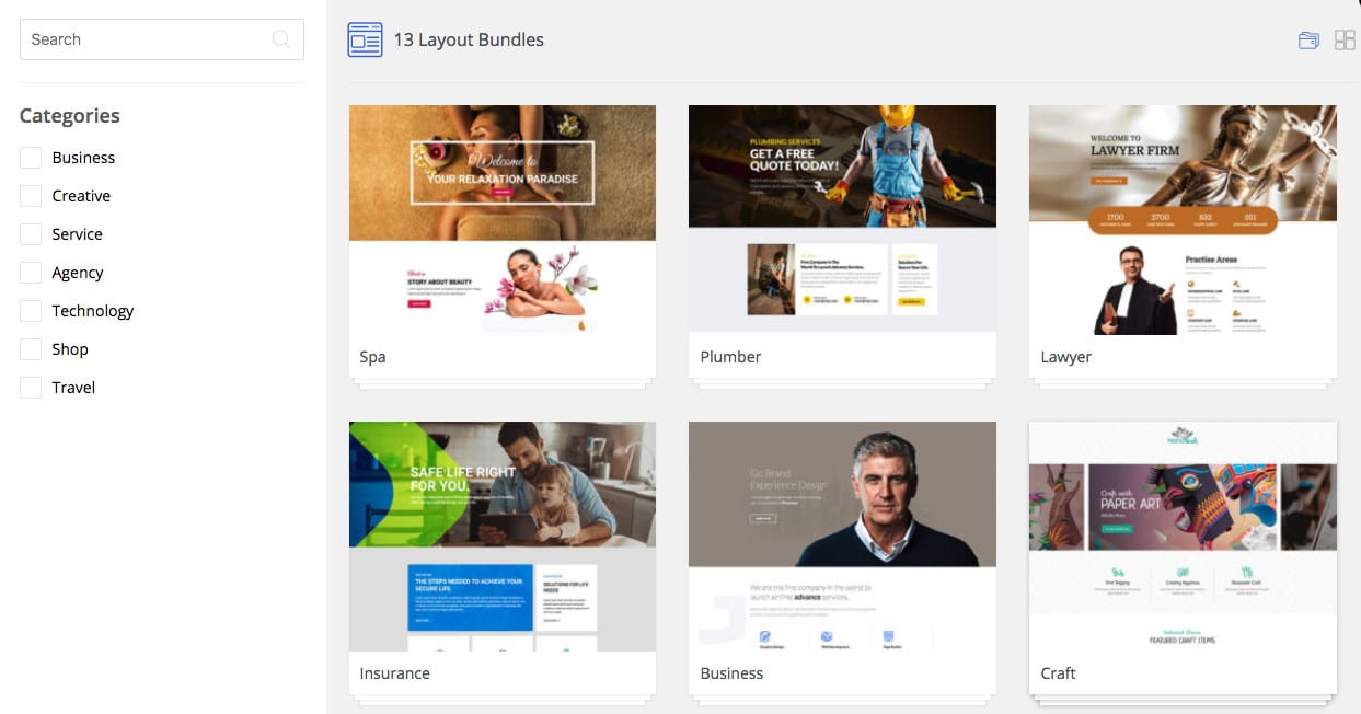 WP Page Builder vorgefertigte Layouts