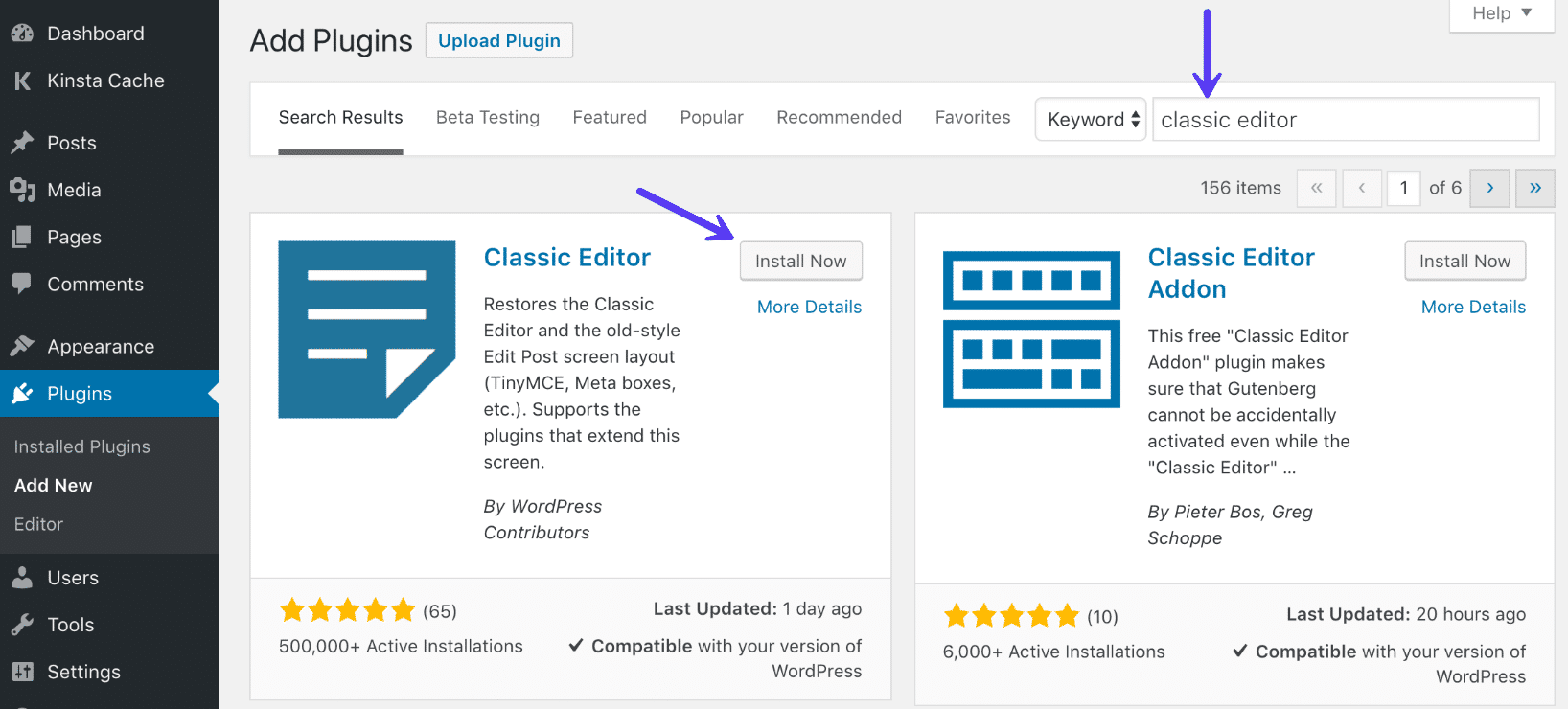 Installiere Classic Editor WordPress Plugin