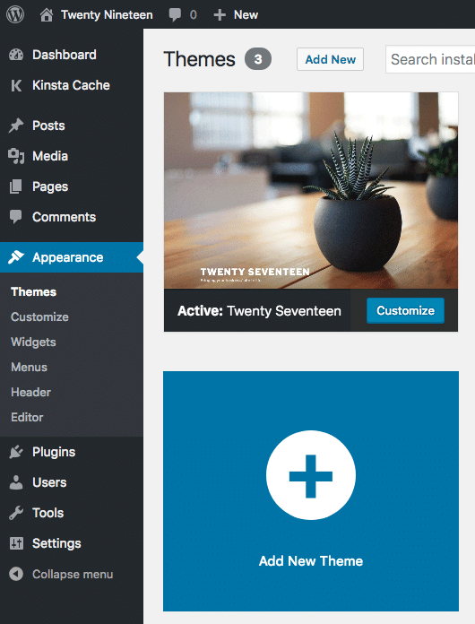 Hochladen eines neuen Themes aus dem WordPress-Dashboard