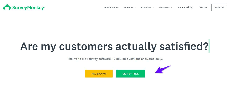 SurveyMonkey signup