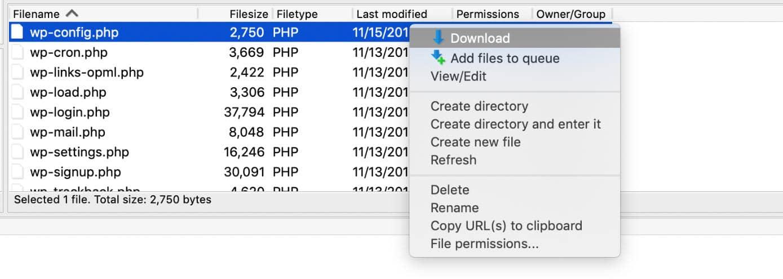Herunterladen wp_config.php Datei