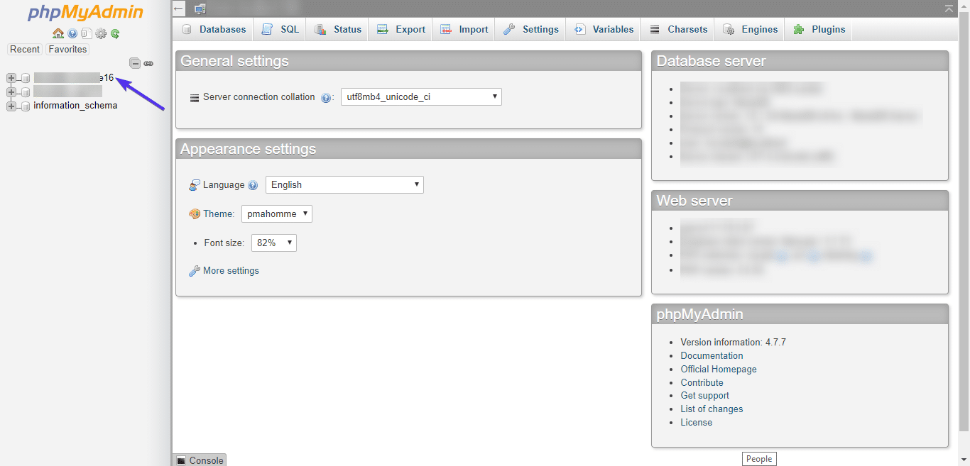 phpMyAdmin Datenbank