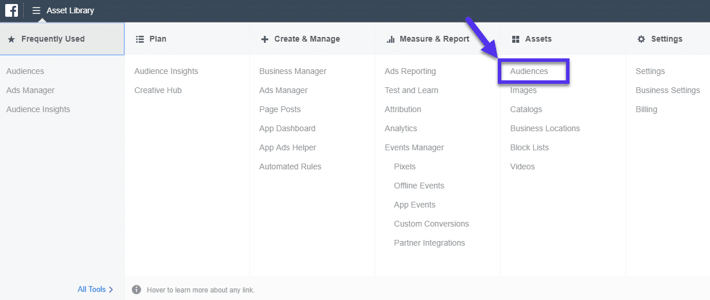 Facebook-Publikum im Ad Manager