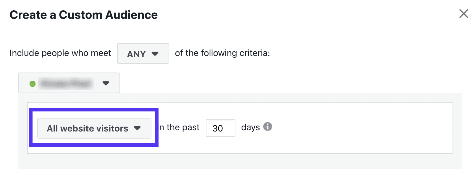 Facebook Retargeting Zielgruppe - letzte 30 Tage