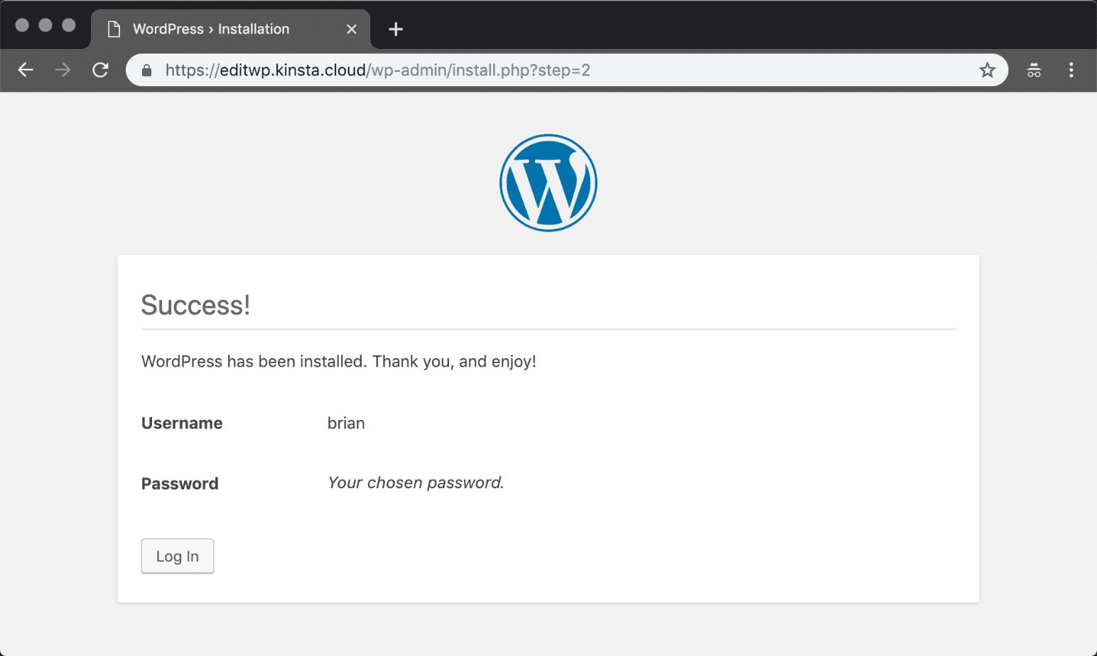 Manuell installiertes WordPress Erfolg