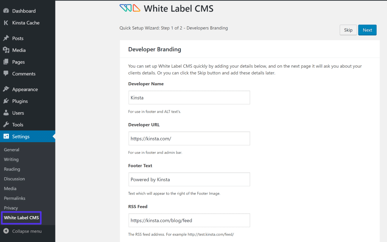 White Label CMS Setup Assistent