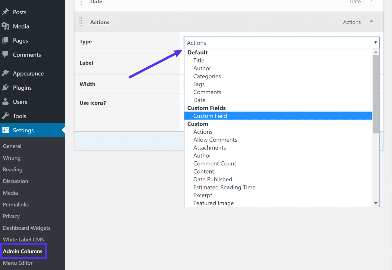Das Admin Columns Interface