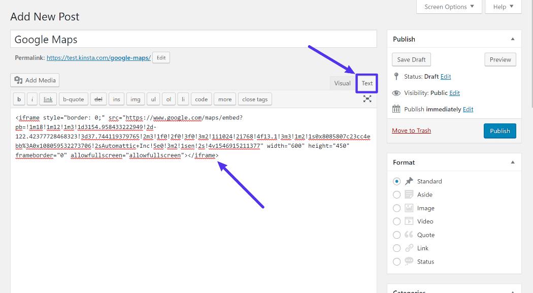 Wie man den Embed Code in WordPress mit dem klassischen Editor hinzufügt