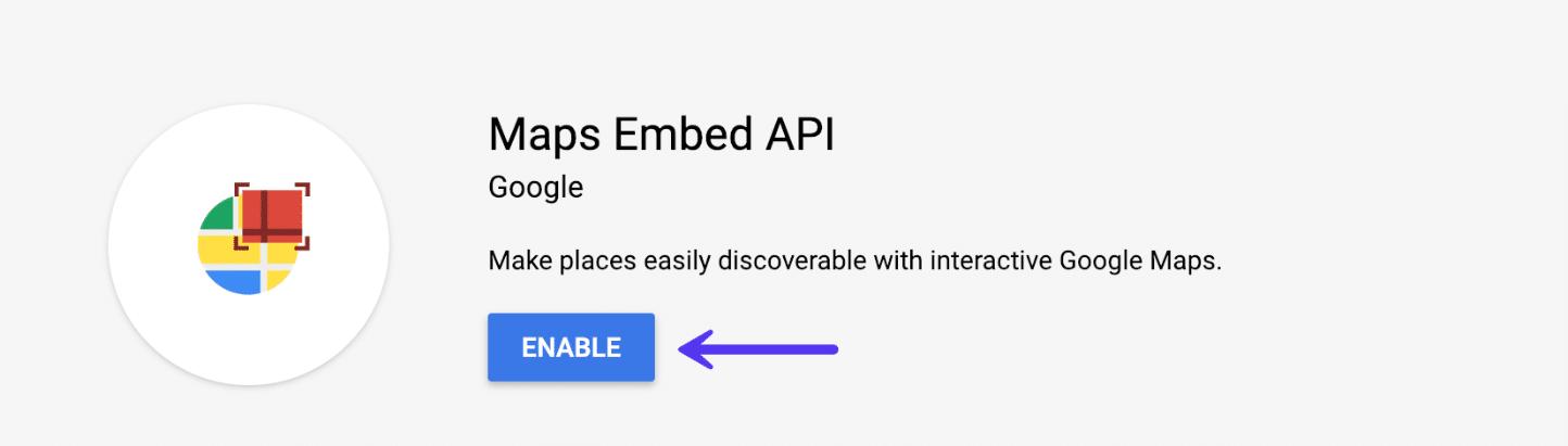 Google Maps Embed API aktivieren