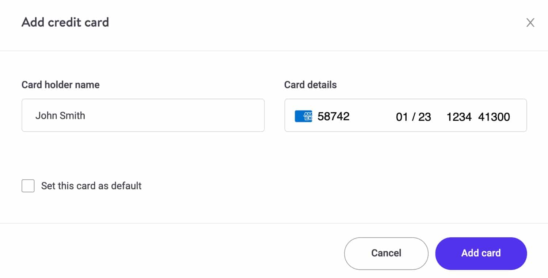 Eine internationale Kreditkarte in MyKinsta hinzufügen.