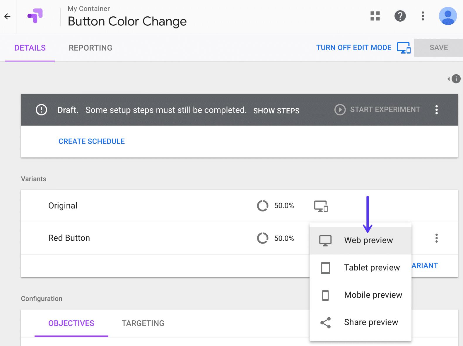 Web Vorschau in Google Optimize