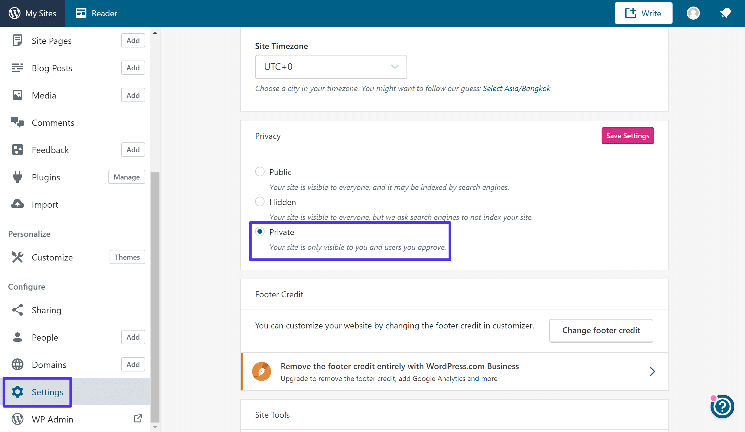wie man seine WordPress.com-Seite privat stellt
