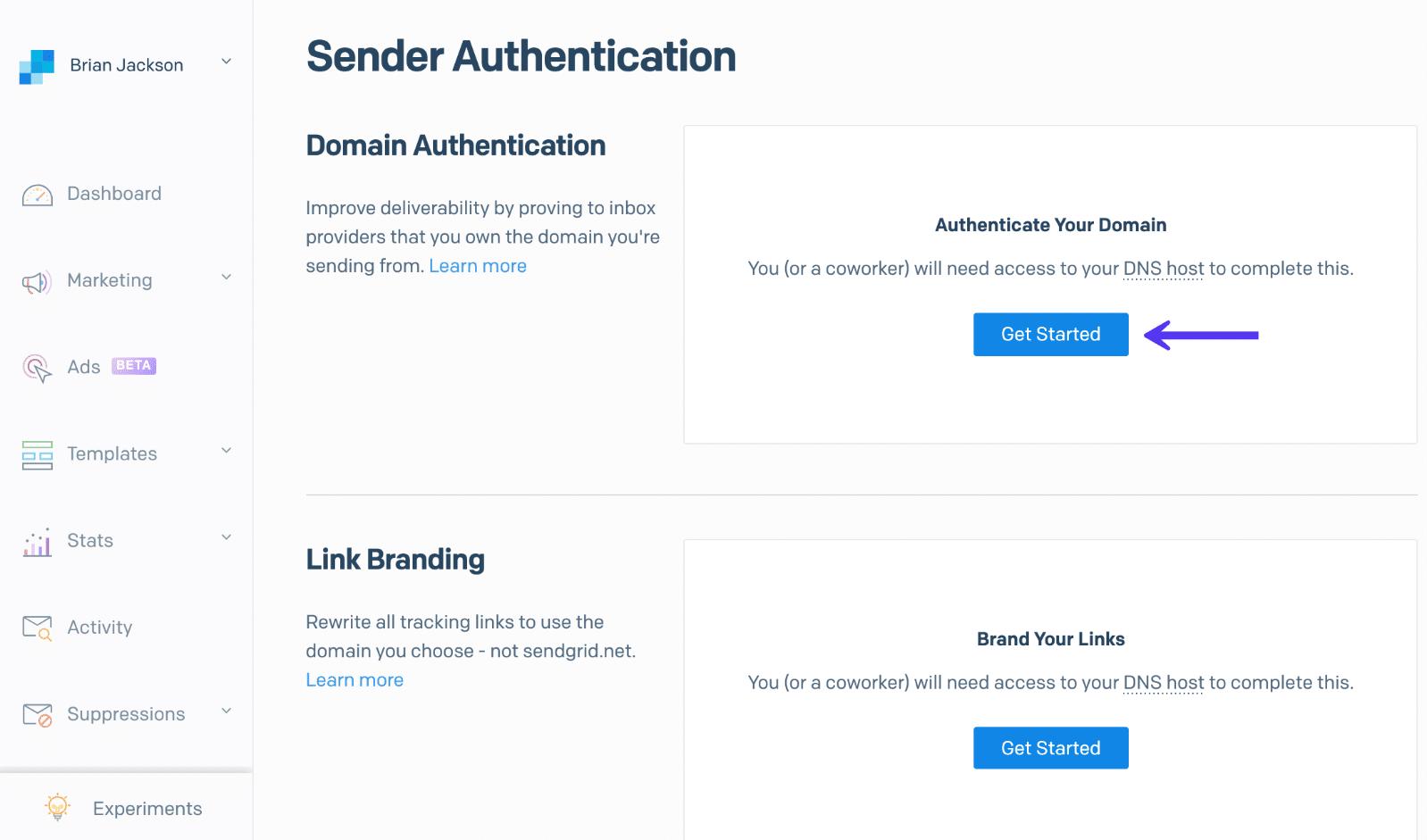 SendGrid Domain-Authentifizierung
