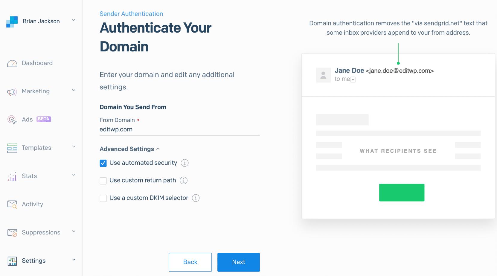 SendGrid-Domain senden von