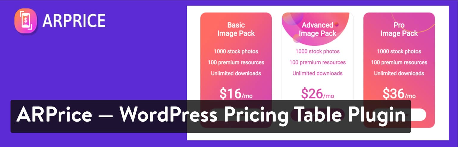 ARPrice – WordPress Pricing Table Plugin