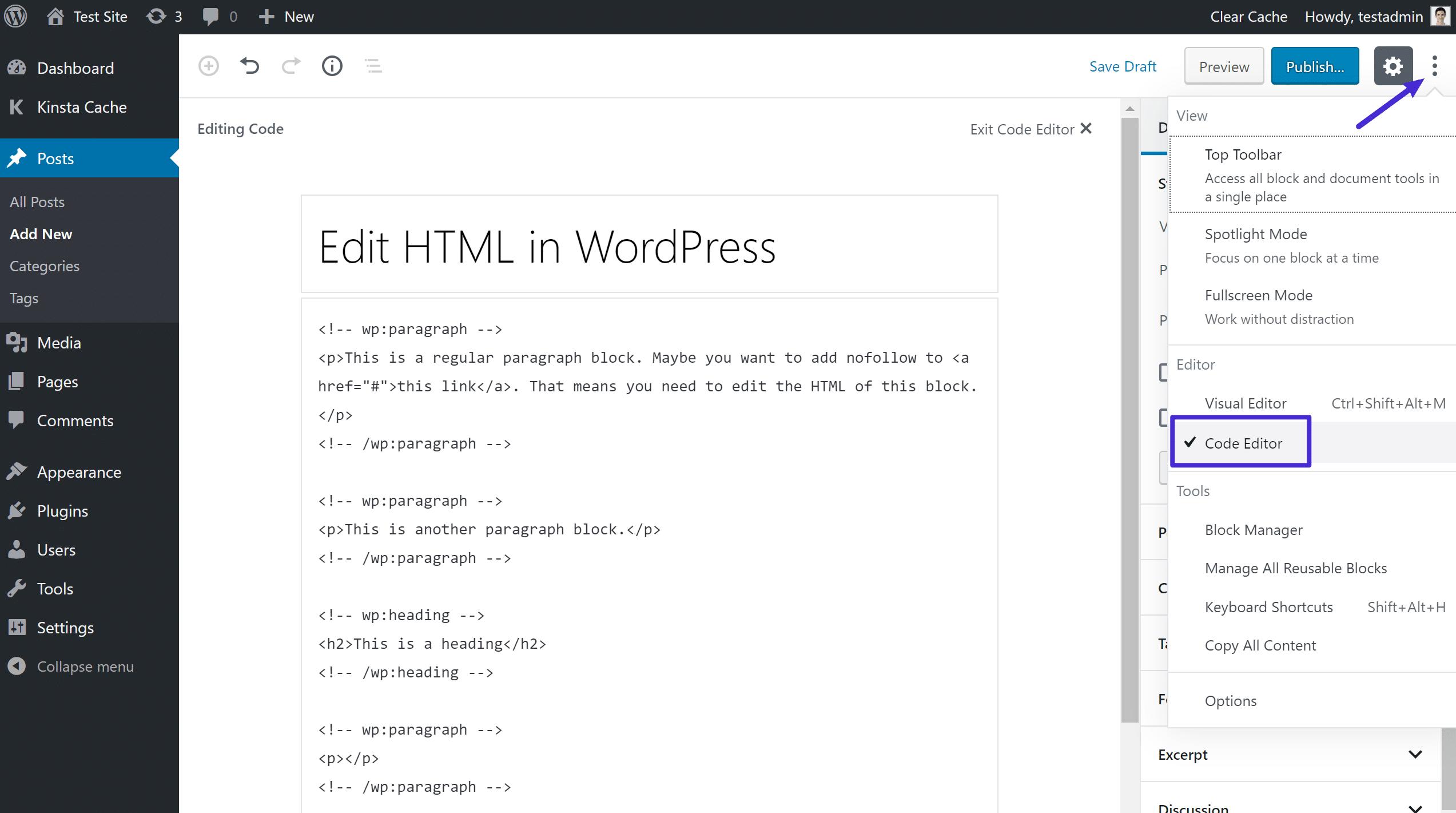 So greifst du auf den vollständigen Code-Editor in Gutenberg zu