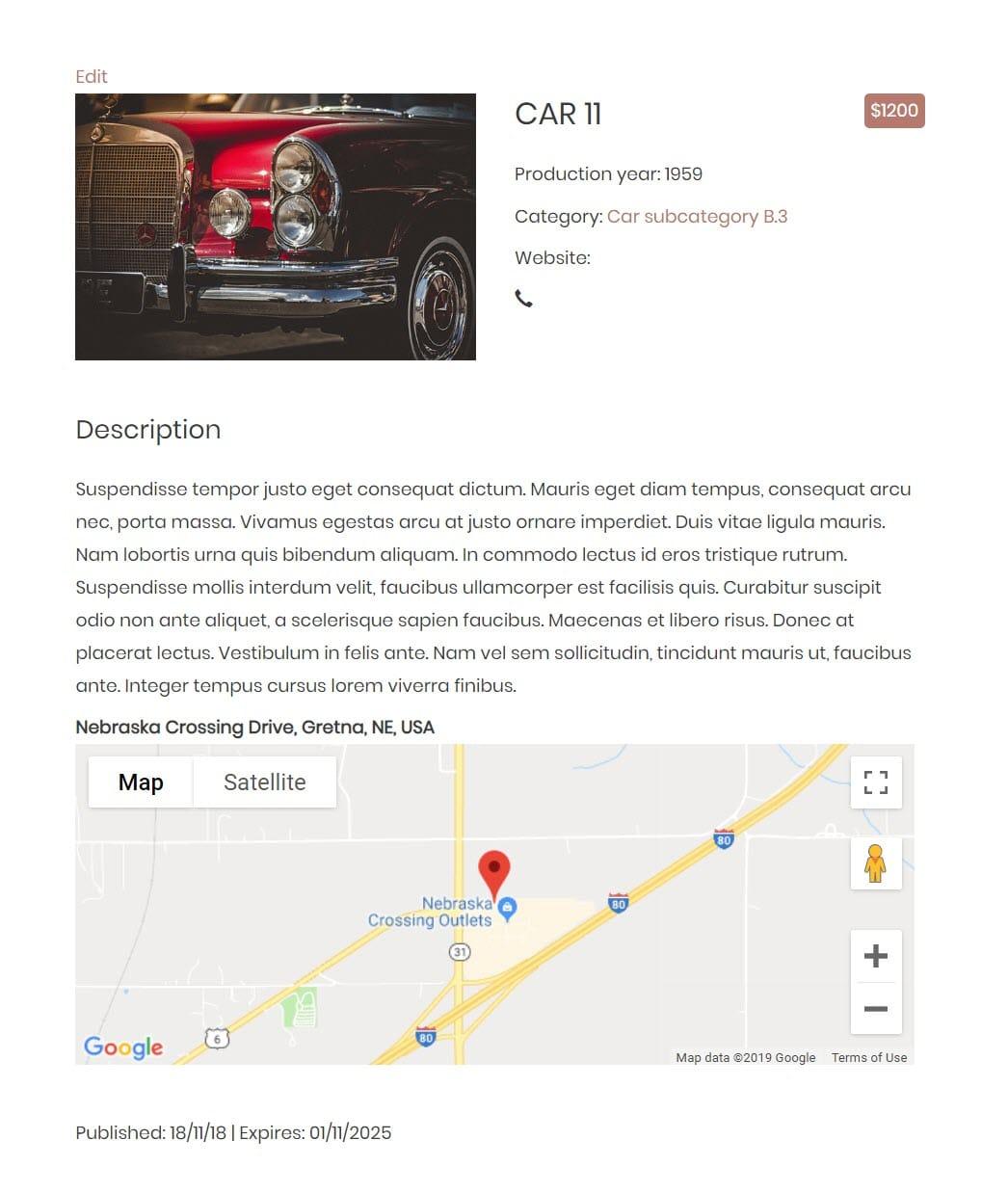Beispiel für eine Vorlage zur Auflistung von Autos