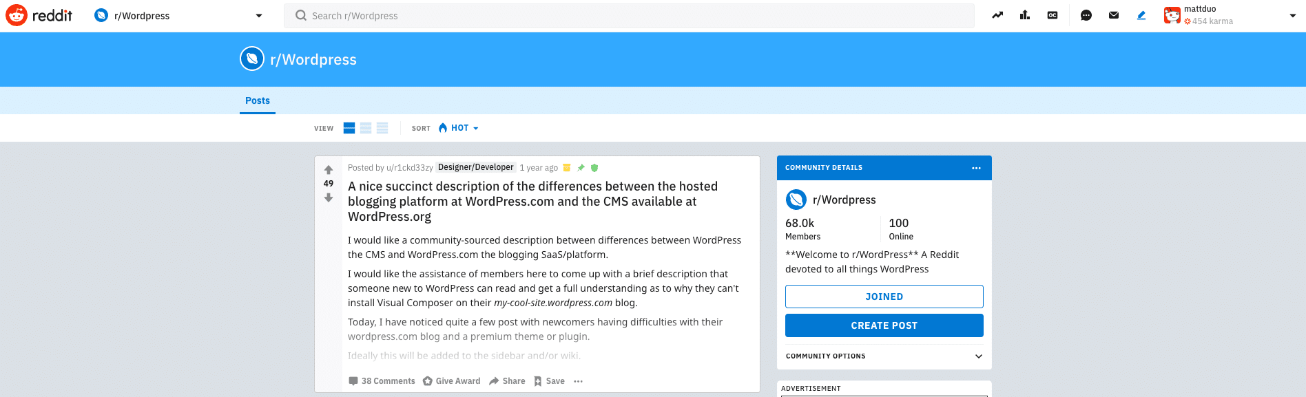 WordPress auf Reddit