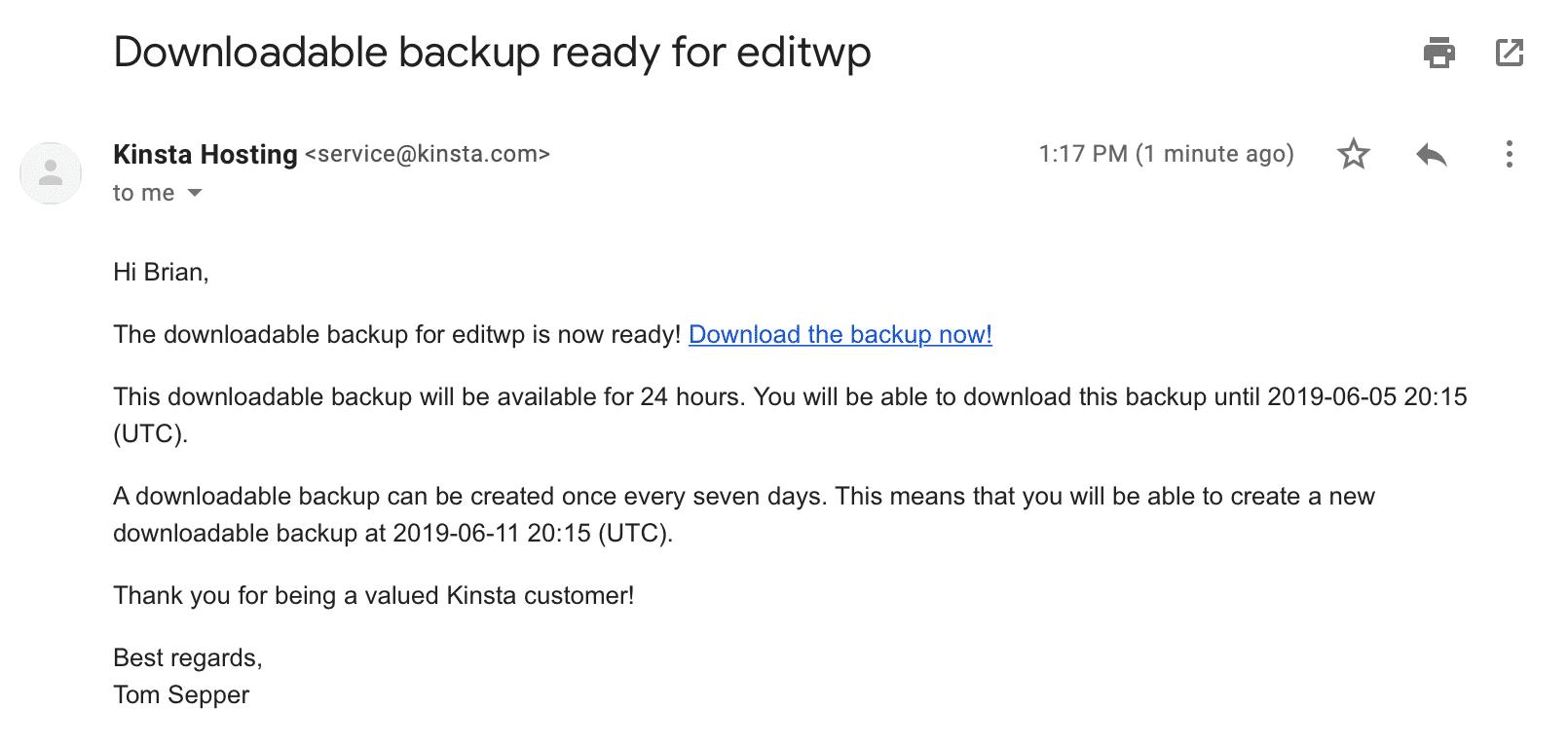 Herunterladbare Backup-E-Mail